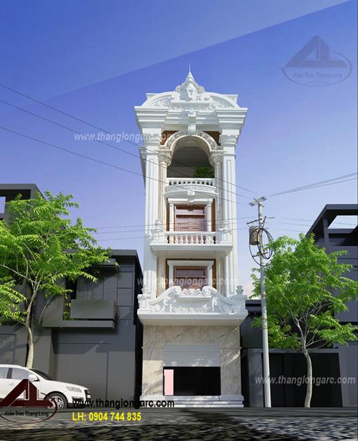 Phối cảnh chính diện mẫu nhà lô phố đẹp 4 tầng cổ điển TL-P1411