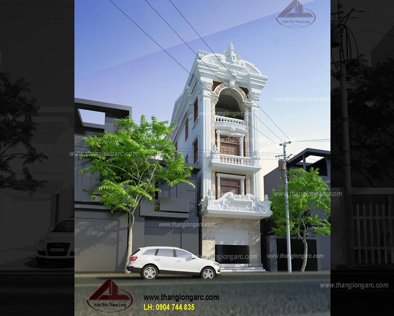 Phối cảnh góc mẫu nhà lô phố đẹp 4 tầng cổ điển TL-P1411