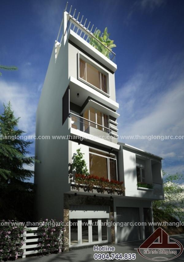 Mẫu thiết kế nhà phố hiện đại 4 tầng phối cảnh góc