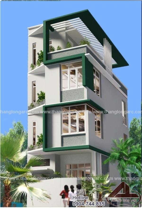 Mẫu thiết kế nhà phố hiện đại 4 tầng, 1 mặt tiền TL-P1418
