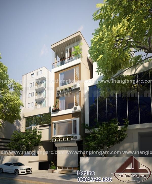 Thiết kế nhà phố hiện đại 5 tầng TL-P1412 view 2