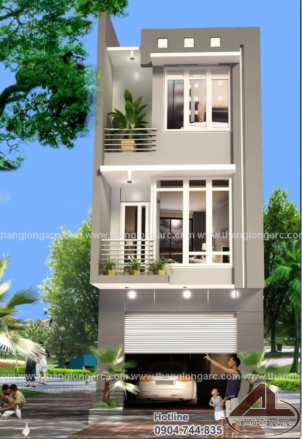 Thiết kế nhà lô phố hiện đại 3 tầng, 2 mặt tiền TL-P1414