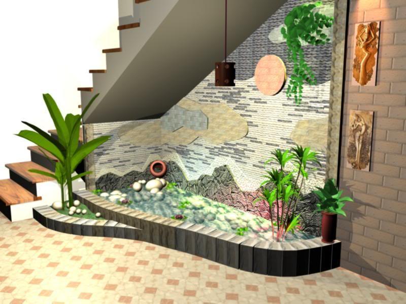 thiết kế tiểu cảnh gầm cầu thang