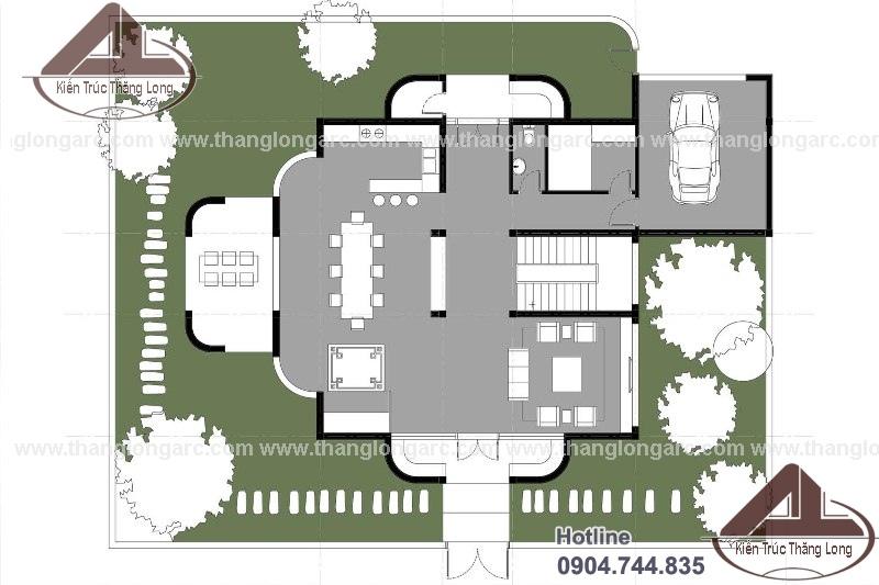 thiết kế biệt thự hiện đại 2 tầng đẹp, sang trọng