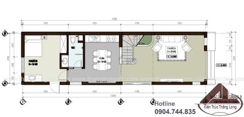 Mặt bằng tầng 1 mẫu thiết kế nhà lô phố hiện đại 3 tầng