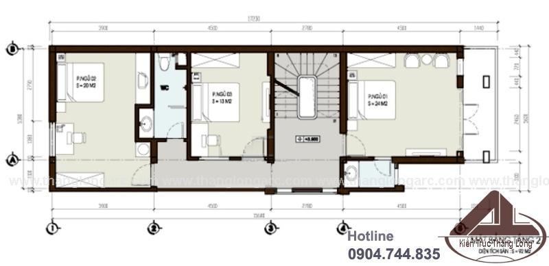 Mặt bằng tầng 2 mẫu thiết kế nhà lô phố hiện đại 3 tầng TL-P1301
