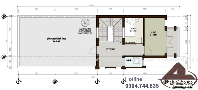 Mặt bằng tầng 3 mẫu thiết kế nhà lô phố hiện đại 3 tầng TL-P1301