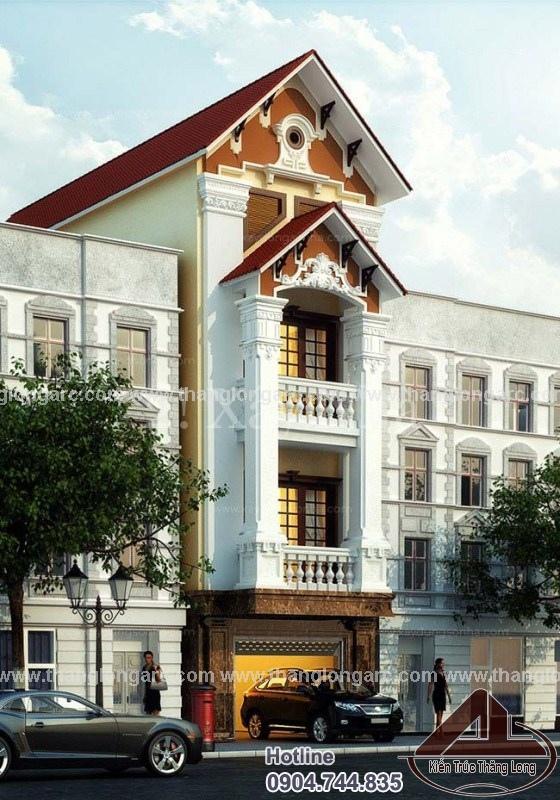 Mẫu thiết kế nhà lô phố cổ điển sang trọng TL-P1295