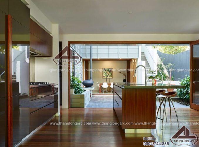 Thiết kế nội thất biệt thự hiện đại với tone nâu