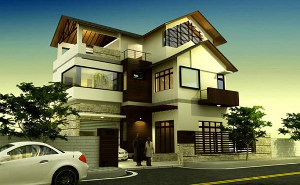 thiết kế biệt thự hiện đại 4 tầng