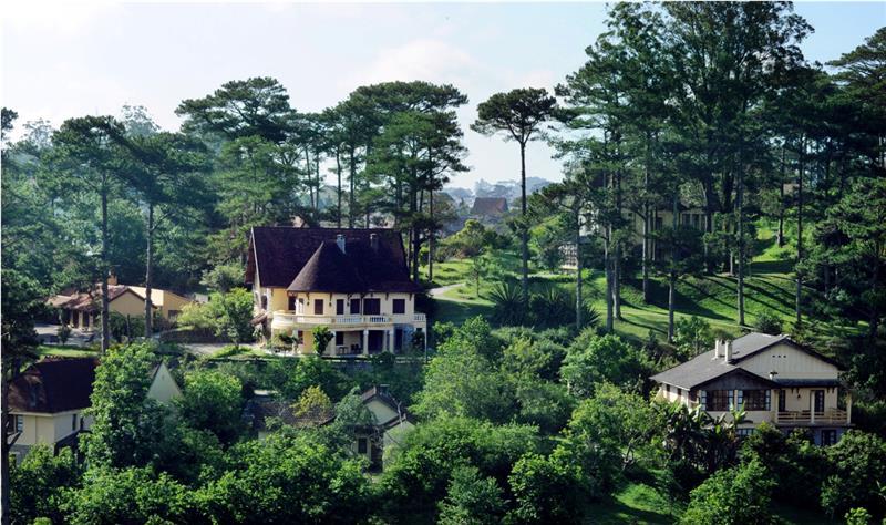 Nhà có cây cối xanh mát bao quanh, địa hình thoải