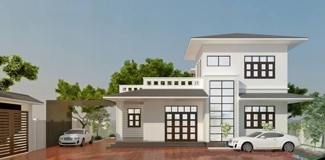 Nhà mái bằng, có tầng tum là thiết kế phổ biến ở nông thôn