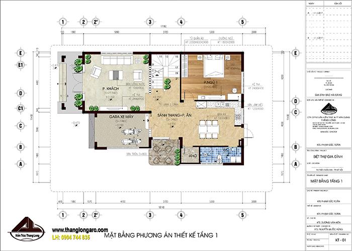 mẫu biệt thự nhà vườn 1 tầng